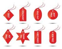 Conjunto de etiquetas engomadas rojas de las ventas Imágenes de archivo libres de regalías