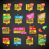 Conjunto de etiquetas engomadas y de divisas stock de ilustración