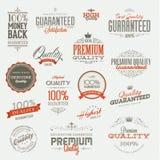 Conjunto de etiquetas engomadas y de elementos superiores de la calidad del vintage ilustración del vector