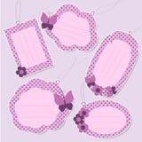 Conjunto de etiquetas púrpuras lindas Imagen de archivo