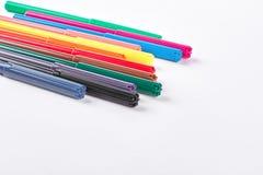 Conjunto de etiquetas de plástico multicoloras Imágenes de archivo libres de regalías