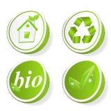 Conjunto de etiquetas verdes de la ecología Imagen de archivo libre de regalías