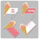 Conjunto de etiquetas y de etiquetas engomadas con el cono de helado. Fotografía de archivo libre de regalías