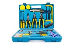 Conjunto de ferramentas com muitas ferramentas no branco Imagens de Stock Royalty Free