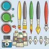 conjunto de ferramentas da caligrafia Fotos de Stock