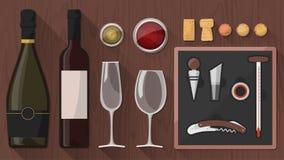 Conjunto de ferramentas da degustação de vinhos Foto de Stock Royalty Free