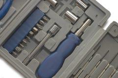 Conjunto de ferramentas de várias ferramentas na caixa Imagens de Stock Royalty Free