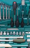 Conjunto de ferramentas de várias ferramentas na caixa Imagens de Stock