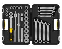 conjunto de ferramentas realístico Caixa das ferramentas ilustração royalty free