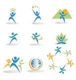 Conjunto de figuras en asunto y logotipos sociales de los iconos Fotografía de archivo