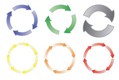 Conjunto de flechas de ciclo Foto de archivo