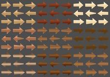 Conjunto de flechas de madera Imagenes de archivo