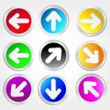 Conjunto de flechas del color Imagen de archivo
