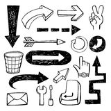 Conjunto de flechas del doodle Imagen de archivo libre de regalías