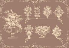 Conjunto de floreros con las flores en un estilo retro Foto de archivo