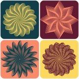 Conjunto de flores abstractas Vector Imagenes de archivo