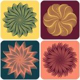 Conjunto de flores abstractas Vector Imagen de archivo