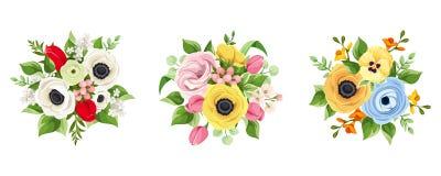 Conjunto de flores coloridas Ilustración del vector Imagen de archivo