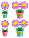Conjunto de flores de la historieta en una maceta Imagen de archivo