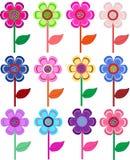 Conjunto de flores en diversas dimensiones de una variable, color. ilustración del vector