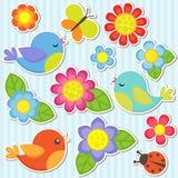 Conjunto de flores y de pájaros Foto de archivo libre de regalías