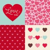 Conjunto de fondo del modelo del corazón de la tarjeta del día de San Valentín de la boda Foto de archivo