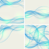 Conjunto de fondos abstractos con las ondas azules. Vecto Foto de archivo