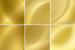 Conjunto de fondos abstractos del neón del oro Fotografía de archivo