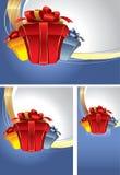 Conjunto de fondos con los rectángulos de regalo Imagen de archivo libre de regalías