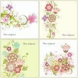 Conjunto de fondos florales Fotos de archivo libres de regalías