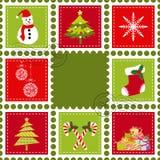 Conjunto de franqueo del sello de la Navidad ilustración del vector