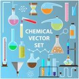 Conjunto de frascos del laboratorio Objetos de la química adentro Foto de archivo libre de regalías
