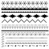 Conjunto de fronteras blancos y negros Imagen de archivo libre de regalías