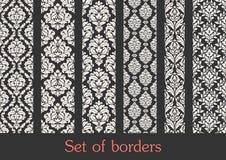 Conjunto de fronteras incons?tiles Elementos de la decoraci?n de la frontera foto de archivo