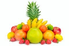 Conjunto de frutas aisladas en el fondo blanco foto de archivo