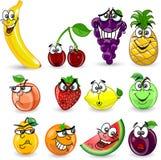 Conjunto de frutas de la historieta Foto de archivo