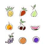 Conjunto de frutas del verano Foto de archivo