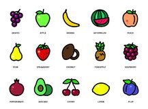 Conjunto de frutas y de bayas Vector las frutas y las bayas de la historieta aisladas en el fondo blanco Imagen de archivo