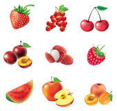 Conjunto de frutas y de bayas rojas Imagen de archivo
