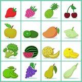 Conjunto de frutas y verdura Fotografía de archivo