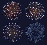 Conjunto de fuegos artificiales Imagen de archivo libre de regalías