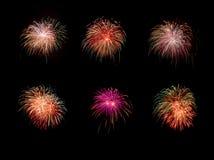 Conjunto de fuegos artificiales Imágenes de archivo libres de regalías