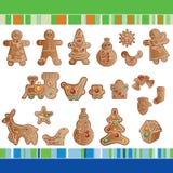 Conjunto de galletas del pan de jengibre de la Navidad. Imágenes de archivo libres de regalías