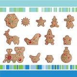 Conjunto de galletas del pan de jengibre de la Navidad Foto de archivo libre de regalías