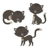 Conjunto de gatos divertidos de la historieta Fotografía de archivo