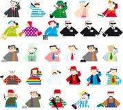 Conjunto de gente coloreada con el teléfono Fotos de archivo libres de regalías