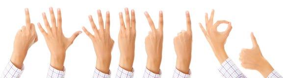 Conjunto de gesticular las manos Imagenes de archivo