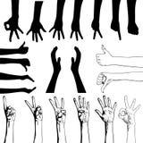 Conjunto de gesticular las manos Foto de archivo libre de regalías