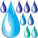 Conjunto de gotas del agua. Foto de archivo