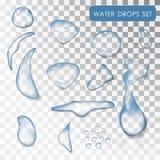 Conjunto de gotas del agua Fotos de archivo